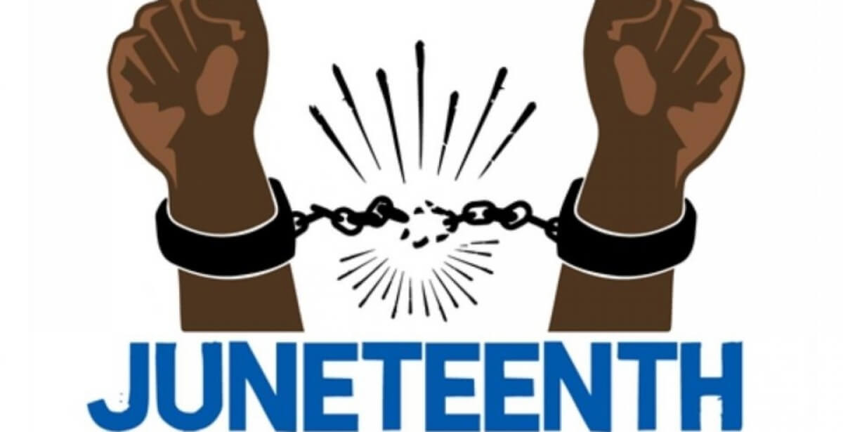 Juneteenth banner - two black hands breaking chains